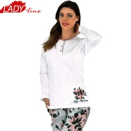 Poze Pijamale Dama Maneca Lunga, Model Big Flower, Producator Lida Home Wear, Bumbac 100% Flausat Pe Interior, Culoare Alb, Pijamale Dama Maneca si Pantalon Lung