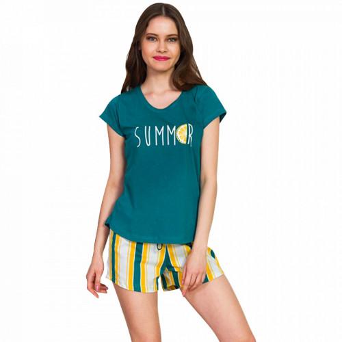 Pijamale Dama Vienetta Bumbac 100%, 'Summer' Green