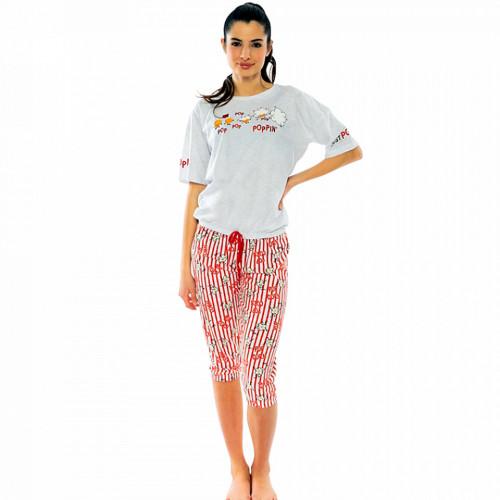 Pijamale Dama Vienetta cu Pantalon 3/4 Model 'Poppin' Gray'