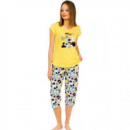 Pijamale Dama Vienetta din Bumbac cu Pantalon 3/4 Model 'Panda's Dream' Yellow