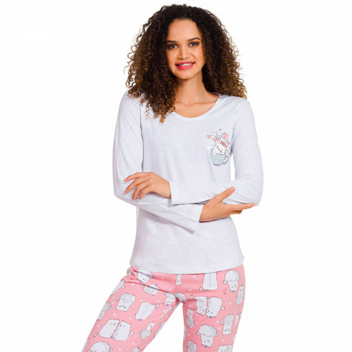 Pijamale Dama Vienetta, 'Is Kitty Day' Gray