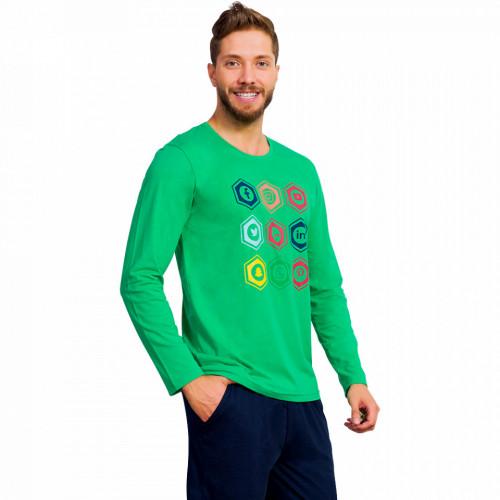 Pijamale din Bumbac Barbati Gazzaz by Vienetta 'Social Media - In Top' Green