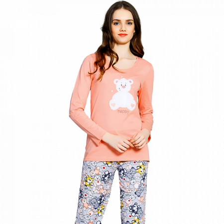 Pijamale Vienetta din Bumbac 100%, Model 'Happy'