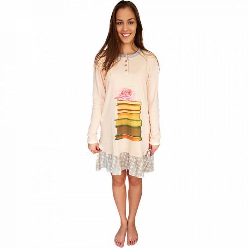 Camasa de Noapte Snelly L'Originale, Bumbac 100%, 'Smart & Beauty' Pink