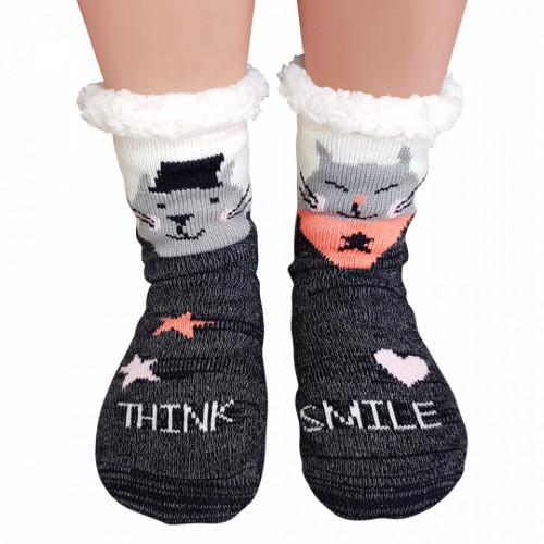 Ciorapi Imblaniti si Caldurosi Lady-Line Model 'Thhk SMile' Gray