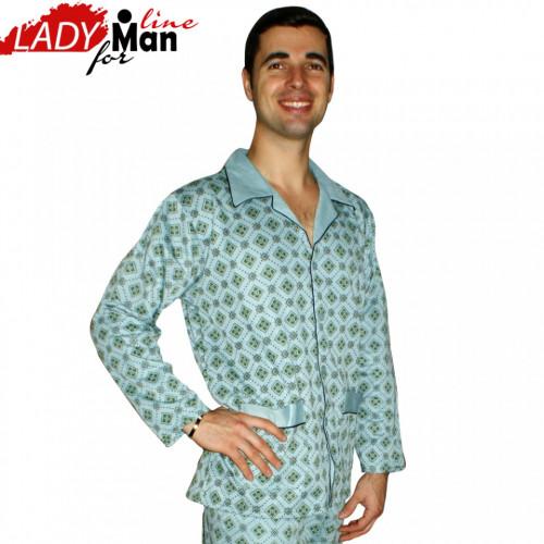 Clasic Sky, Pijamale Clasice Barbati, PT Fashion, Bumbac 100%, Culoare Albastru