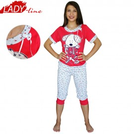 Poze Cute Dog, Pijamale Dama Vara, Baki Collection, Culoare Rosu/Gri