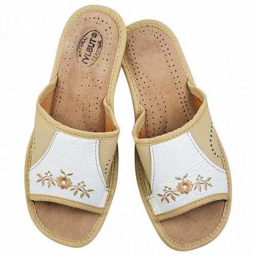 Papuci de Casa Dama Material Piele Culoare Crem/Alb Model 'Karimya Beauty'