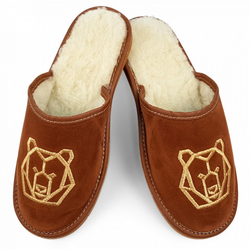 Papuci de Casa din Piele Imblaniti cu Lana de Oaie Culoare Maro Model 'Ursul Brun'