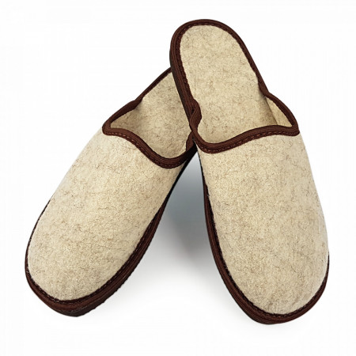 Papuci de Casa Universali din Postav, Culoare Crem