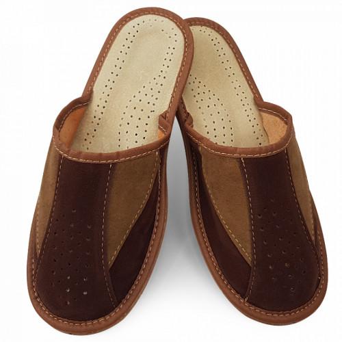 Papuci de Casa Vara din Piele Intoarsa Culoare Maro Model 'Bruno Brown'