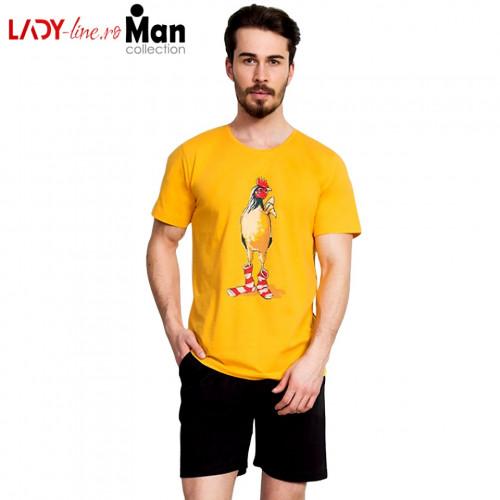 Pijama Barbati Gazzaz by Vienetta, 'Rooster - Limited Edition' Yellow