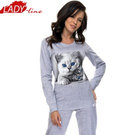 Poze Pijama Dama Maneca Lunga, Model Cute Kittens - Light Gray, Brand DN NightWear, Material Bumbac 100%, Culoare Gri, Pijamale Dama Din Bumbac De Calitate