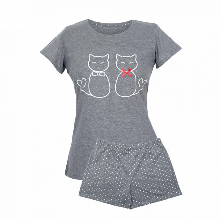 Pijama Dama Muzzy, 'Lovely Kittens' Gray