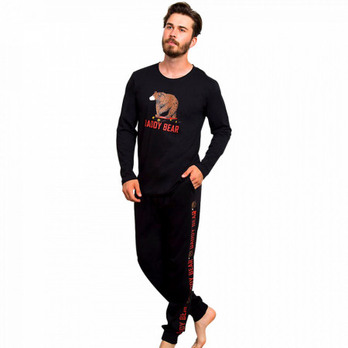 Pijamale Barbati Bumbac 100% Gazzaz by Vienetta 'Daddy Bear' Black