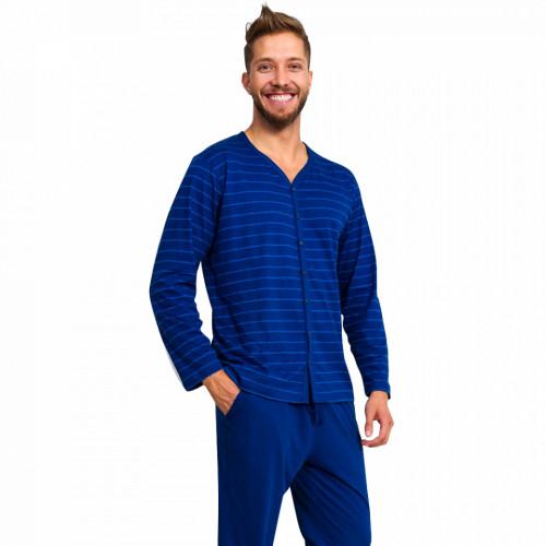 Pijamale Barbati Marimi Mari din Bumbac Gazzaz by Vienetta 'Authentic Elite' Blue