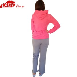 Poze Pijamale Dama Calduroase Maneca Lunga, Model Welcome, Producator Benter Fashion Wear, Material Micropolar, Culoare Fuchsia/Gri, Pijamale Calduroase Dama Maneca si Pantalon Lung