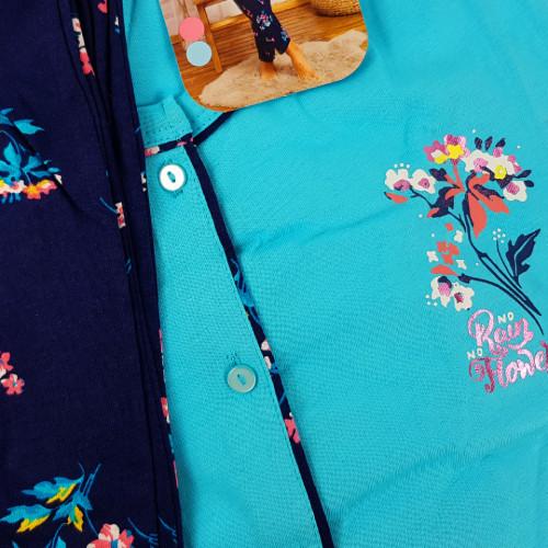 Pijamale Dama cu Nasturi din Bumbac Vienetta Model 'No Rain No Flowers'