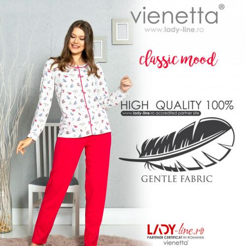 Pijamale Dama cu Nasturi Vienetta Model 'Classic Mood'