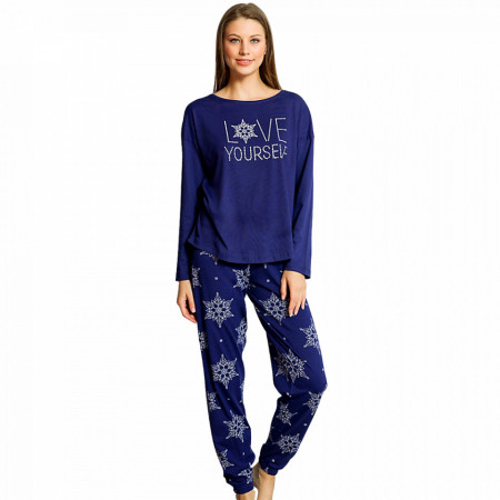 Pijamale Dama din Bumbac 100% Vienetta Model 'Love Yourself' Blue