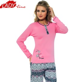 Poze Pijamale Dama Maneca Lunga, Model Happy Spring, Producator Fawn, Material Bumbac 100% Interlock, Culoare Roz, Pijamale Dama Maneca si Pantalon Lung