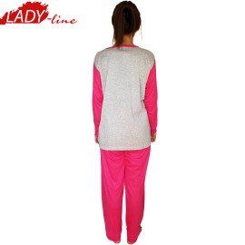 Poze Pijamale Dama Maneca Lunga, Model I Love You, Producator Dumi Fashion, Bumbac 100%, Culoare Gri/Roz Fucsia, Pijamale Dama Maneca si Pantalon Lung