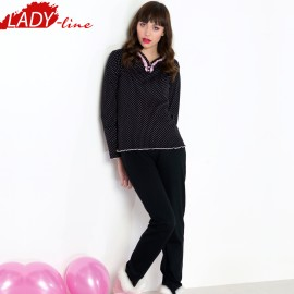 Poze Pijamale Dama Maneca Lunga, Model Inocent & Beauty, Brand Italian Fashion Design, Material Bumbac 100% Interlock, Culoare Negru, Pijamale Dama Calitate 100%