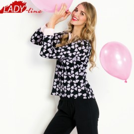 Poze Pijamale Dama Maneca Lunga, Model Joy Of Love, Brand Italian Fashion Design, Material Bumbac 100% Interlock, Culoare Negru/Roz, Pijamale Dama Calitate 100%
