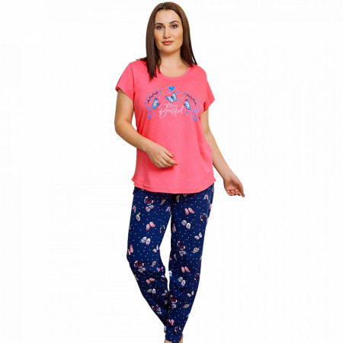 Pijamale Dama Marimi Mari din Bumbac, Vienetta Model 'You Are Beautiful' Pink
