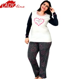 Poze Pijamale Dama Marimi Mari, Model Forever You And Me, Producator Sexen Woman, Material Bumbac 95%, Culoare Alb/Gri, Pijamale Dama XXL