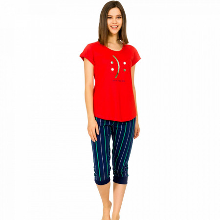 Pijamale Dama Vienetta din Bumbac Model 'Happy or Sad You Decide' Red