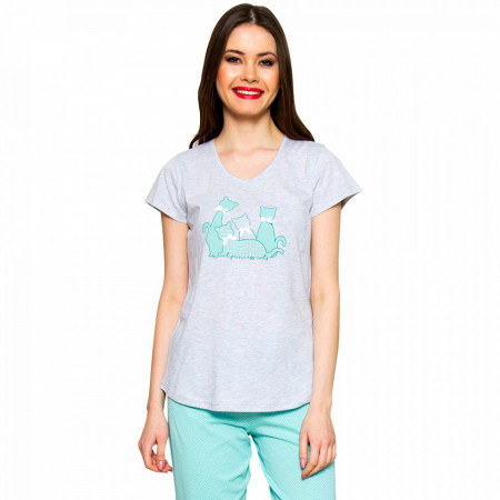 Pijamale Dama Vienetta 'Sweet Princess Cats' Green