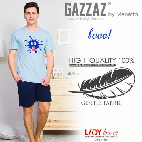 Pijamle Barbati Gazzaz by Vienetta, 'Booo!' Blue, Bumbac 100%
