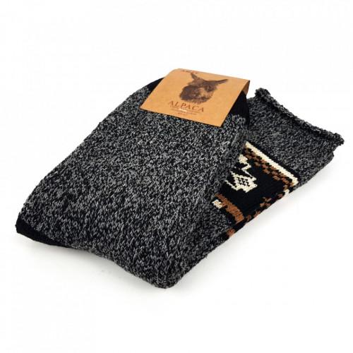 Sosete Calduroase din Lana Naturala de Alpaca Model 'Tradition' Dark Gray
