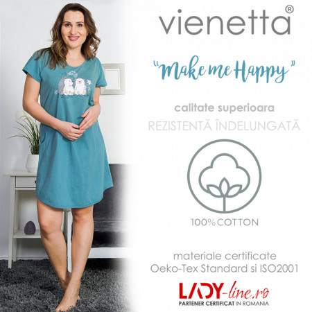 Camasa Dama Vienetta Marimi Mari, 'Make Me Happy' Green