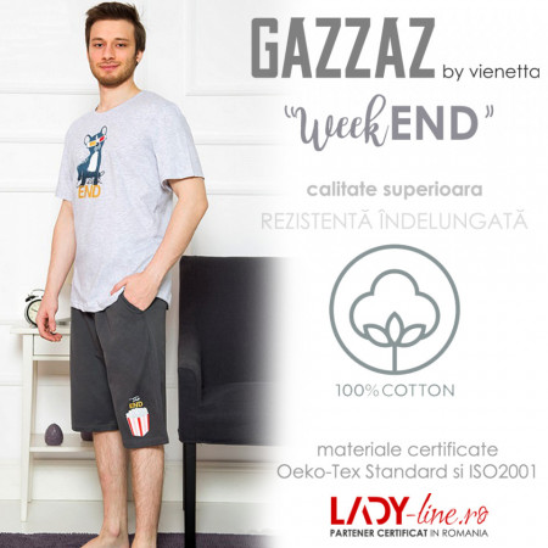 Pijama Barbati Gazzaz by Vienetta, 'WeekEND' Gray