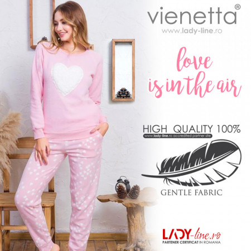 Pijama Dama Calduroasa din Polar Fleece Vienetta 'Love is inthe Air'
