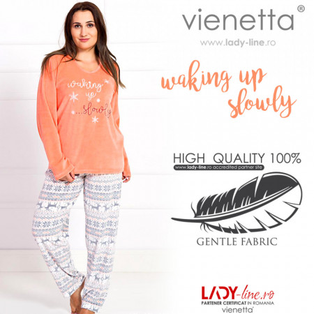 Pijama Dama Soft Velur Vienetta Model 'Waking up Slowly' Orange