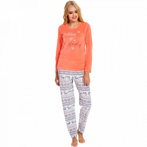 Pijama Dama Soft Velur, Vienetta, 'Waking Up Slowly' Orange