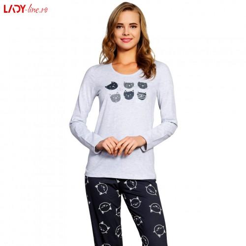 Pijama Dama Vienetta Secret, 'Hello Pisy' Gray