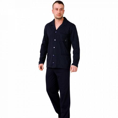 Pijamale Barbati cu Nasturi, Bumbac 100%, 'Elegant in Black', M-Max