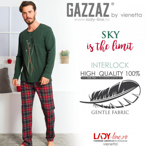 Pijamale Barbati din Bumbac Interloc Gazzaz by Vienetta 'Sky is the Limit'