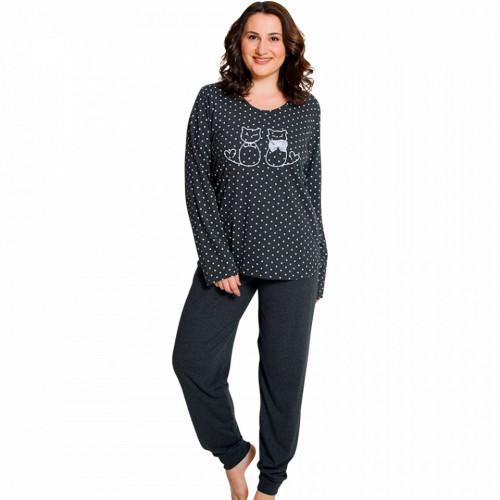 Pijamale Confortabile Dama Marimi Mari Vienetta Model 'Love Story' Dark Gray