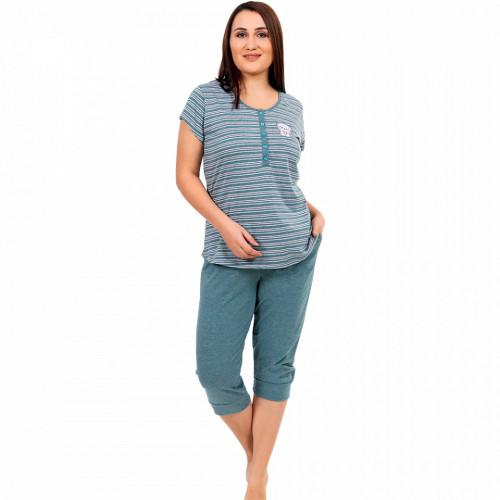 Pijamale Confortabile Marimi Mari Vienetta Model 'Green Zen' Verde Melange