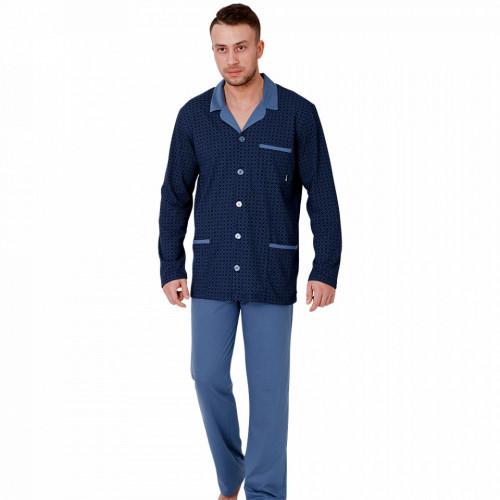 Pijamale cu Nasturi Barbati, M-Max, Model Stylish, Bumbac 100%