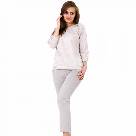 Pijamale Dama Bumbac, M-Max, Model 'Simple & Stylish' Cream