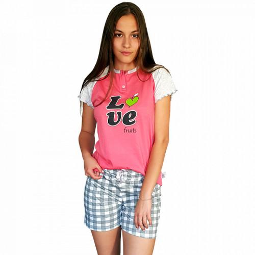 Pijamale Dama Bumbac, Senso, Model 'Love Fruits' Pink