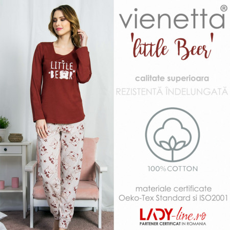 Pijamale Dama Bumbac Vienetta, Model 'Little Bear'