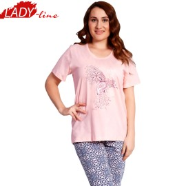 Poze Pijamale Dama cu Maneca Scurta si Pantalon 3/4, Material Bumbac 100%, Model 'Love Is In The Air', Producator Vienetta Secret, Culoare Roz, Pijamale Dama Vara