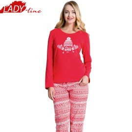 Poze Pijamale Dama Maneca Lunga, Material Bumbac 100%, Culoare Rosu, Producator Vienetta Secret, Model Today Is A Good Day, Pijama Dama Vienetta